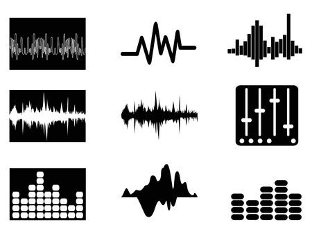 geluid: geïsoleerde muziek soundwave pictogrammen instellen van een witte achtergrond