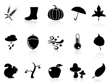 isolated autumn icons set from white background Vector