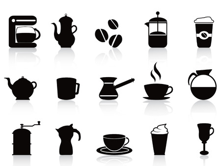 isolated black coffee icons set from white background Vector