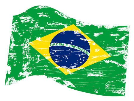 torned: isolated grungy Brazil flag on white background   Illustration