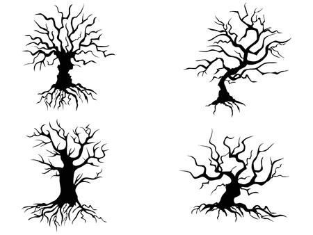 arboles secos: árboles de halloween aislados de fondo blanco Vectores