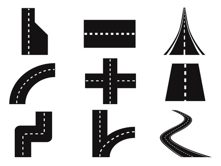 thoroughfare: isolated roads vector set from white background Illustration