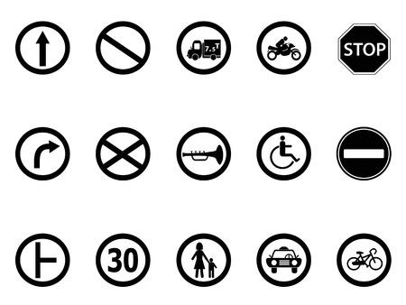 fourchette  route: isol�s ic�nes de signalisation routi�re fix�s de fond blanc Illustration