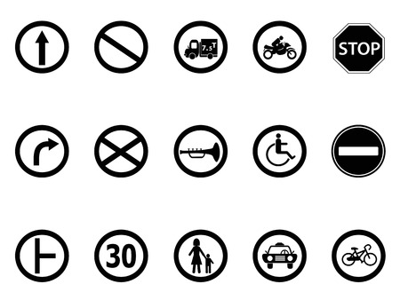 isolated road sign icons set from white background   Vector