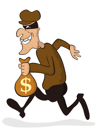 흰색 배경에서 격리 도둑의 만화 캐릭터