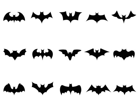 at bat: isolated bat icons from white background