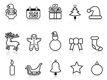 Aislados navidad negro iconos de la línea de fondo blanco Foto de archivo - 22797668