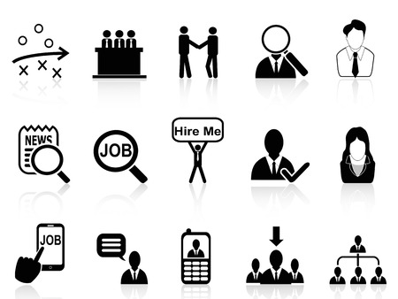 isolated job search icons set from white background