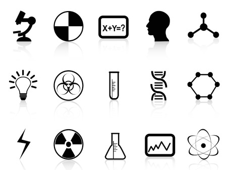 isolated black science symbols from white background Vector