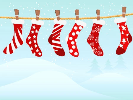 the holiday background of Christmas retro stockings in snowing  Vector