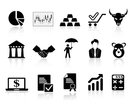 isolated stock exchange icons set from white background