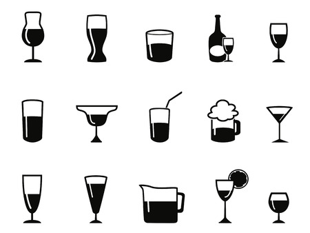 isolated alcohol icons set from white
