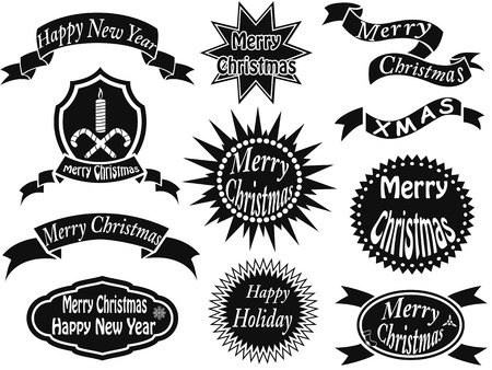 isolated black christmas labels from white  Vector
