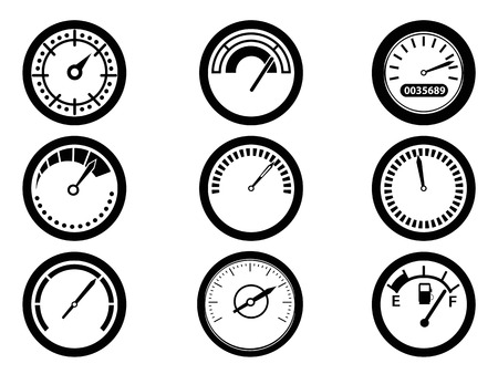 vehicle part: isolated gauge icons from white  Illustration