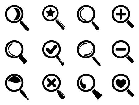 plus icon: isolated black magnifying glass icons set from white background