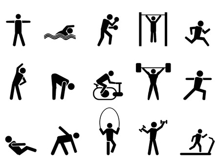 isolated black fitness people icons set from white background