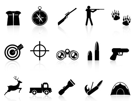 wildlife shooting: isolated hunting icons set from white background