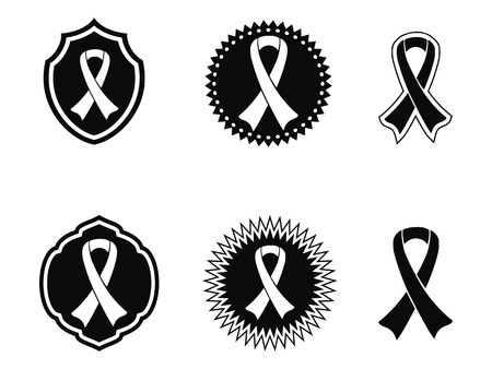 islated black awareness ribbons and Badges on white background Vector