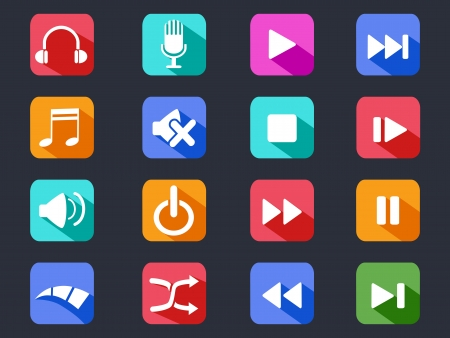 isolated flat media button long shadow icons on black background Vector