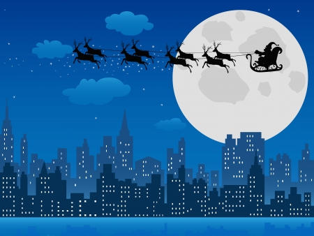 the background of Santa's sleigh over urban skyline  for Christmas design Vector