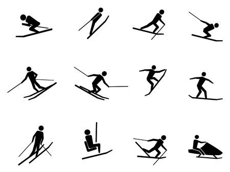 buiten sporten: geïsoleerde zwarte ski pictogrammen instellen van een witte achtergrond