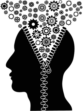 the background of unzipped human head with cogs for design Vector