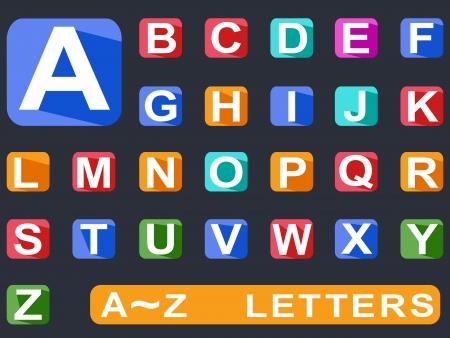 alphabetical order: isolated flat alphabet Long shadow icons on black ground Illustration