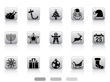 isolated christmas button icons from white background Stock Vector - 24233290