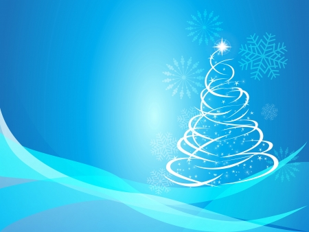 the Christmas background with abstract Christmas curve tree Vector