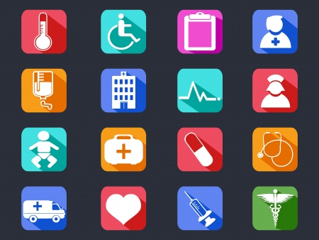 isolated flat medical long shadow icons from black background   Vector