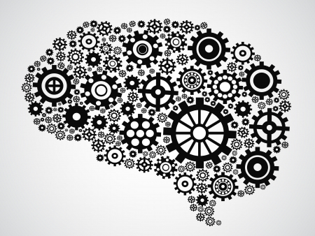 isolated brain filled with gears from gray background