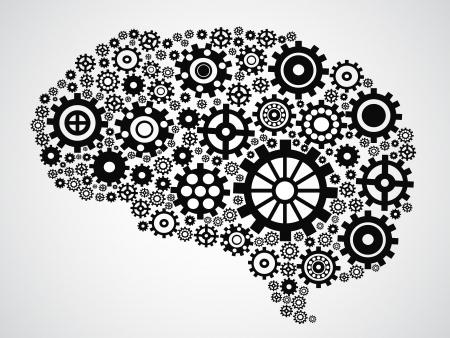 cerebro humano: aislado cerebro lleno de engranajes de fondo gris