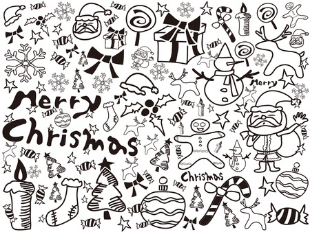 the background of christmas doodles for design Vector