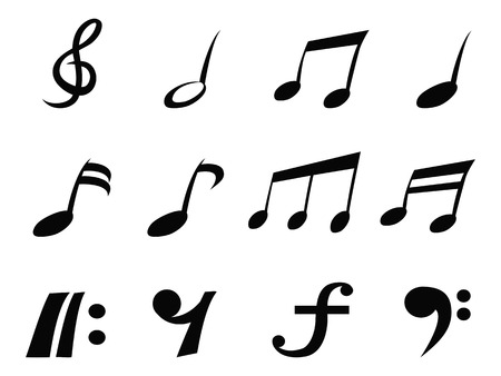 crotchets: isolated music note icons from white background  Illustration