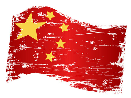 isolated grungy china flag from white background Stock Vector - 24539760