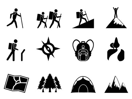 isolated hiking icons from white background Vettoriali