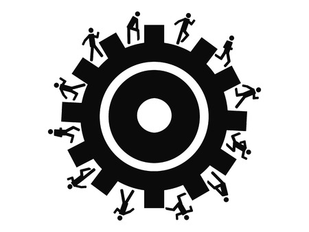 the background of people running around gear for design Vector