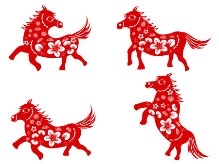 isolated red Chinese horse paper cut on white background Vector