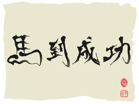 immediate: Chinese Calligraphy for celebrating Chines horse new year, Chinese characters as Achieving Immediate Success