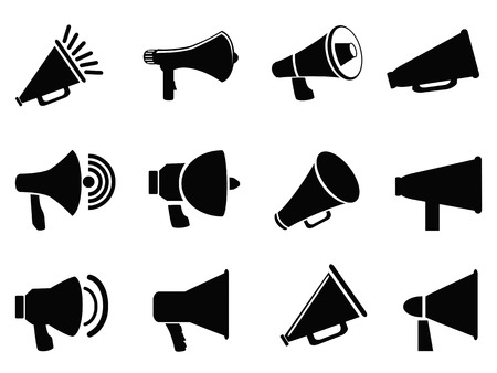 loudspeaker: isolated black megaphone icons from white background
