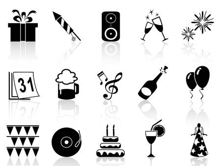 sylwester: odizolowane czarny nowy rok zestaw ikon z białym tle Ilustracja