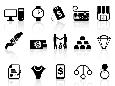 isolated black pawn shop icons set from white background Vector