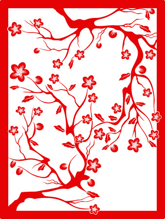 the Chinese red paper cut of plum blossom Vector