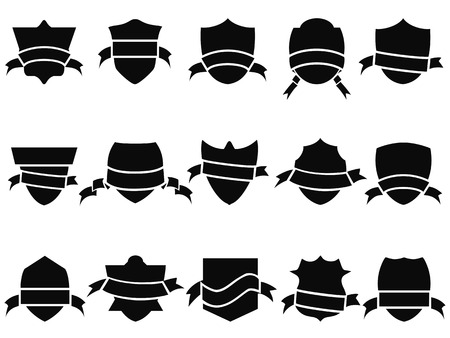 isolated black shield and ribbon icons set from white background