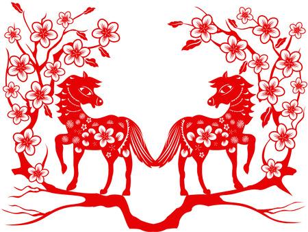 paper cut: het rode papier gesneden van twee paarden met pruimenbloesem voor Chinees Nieuwjaar
