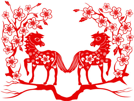 the red paper cut of two horses with plum blossom for Chinese new year