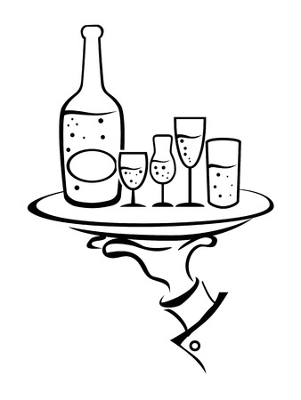 isolated outline of Waiter Hand Holding Wine Tray from white background  Vector