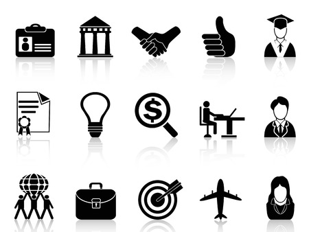 isolated black Business Career Icons from white background  Vector