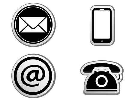 isolated Contact icon buttons set from white background 矢量图像