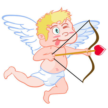 naughty boy: isolated a cute cartoon style of funny cupid on white background Illustration